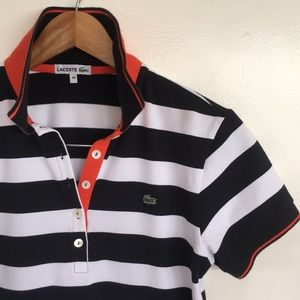 Gorgeous LACOSTE Striped Polo Shirt Sz 44 women M